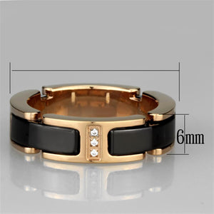 3W964 - IP Rose Gold(Ion Plating) Stainless Steel Ring with Ceramic  in Jet
