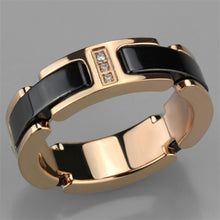 Load image into Gallery viewer, 3W964 - IP Rose Gold(Ion Plating) Stainless Steel Ring with Ceramic  in Jet