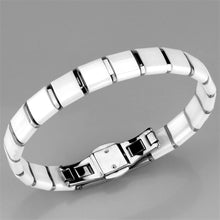 Load image into Gallery viewer, 3W985 - High polished (no plating) Stainless Steel Bracelet with Ceramic  in White