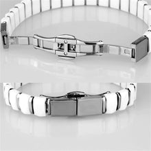 Load image into Gallery viewer, 3W991 - High polished (no plating) Stainless Steel Bracelet with Ceramic  in White