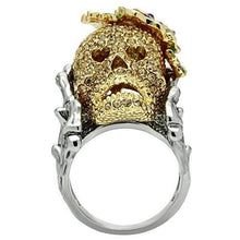 Load image into Gallery viewer, 3W002 - Gold+Ruthenium White Metal Ring with Top Grade Crystal  in Citrine Yellow