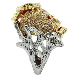 3W002 - Gold+Ruthenium White Metal Ring with Top Grade Crystal  in Citrine Yellow