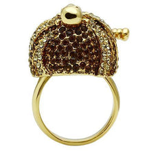 Load image into Gallery viewer, 3W012 - Gold White Metal Ring with Top Grade Crystal  in Smoked Quartz