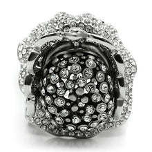 Load image into Gallery viewer, 3W018 - Matte Rhodium & Rhodium White Metal Ring with Top Grade Crystal  in Clear