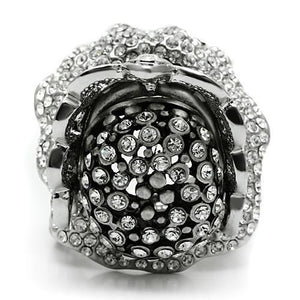 3W018 - Matte Rhodium & Rhodium White Metal Ring with Top Grade Crystal  in Clear