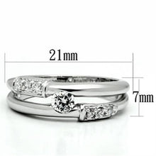 Load image into Gallery viewer, 3W049 - Rhodium Brass Ring with AAA Grade CZ  in Clear