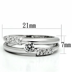 3W049 - Rhodium Brass Ring with AAA Grade CZ  in Clear