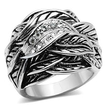 Load image into Gallery viewer, 3W063 - Rhodium Brass Ring with Top Grade Crystal  in Clear