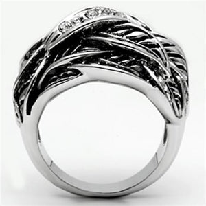 3W063 - Rhodium Brass Ring with Top Grade Crystal  in Clear
