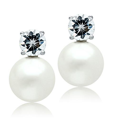 3W088 - Rhodium Brass Earrings with Synthetic Pearl in White