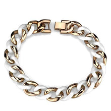 Load image into Gallery viewer, 3W1001 - IP Rose Gold(Ion Plating) Stainless Steel Bracelet with Ceramic  in White