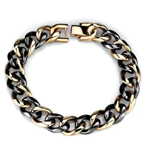3W1002 - IP Rose Gold(Ion Plating) Stainless Steel Bracelet with Ceramic  in Jet