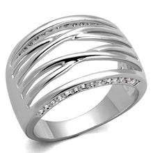Load image into Gallery viewer, 3W1066 - Rhodium Brass Ring with AAA Grade CZ  in Clear