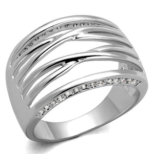 3W1066 - Rhodium Brass Ring with AAA Grade CZ  in Clear