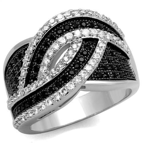 3W1090 - Rhodium + Ruthenium Brass Ring with AAA Grade CZ  in Black Diamond
