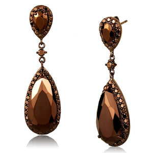 3W1110 - IP Coffee light Brass Earrings with AAA Grade CZ  in Light Coffee