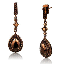 Load image into Gallery viewer, 3W1111 - IP Coffee light Brass Earrings with AAA Grade CZ  in Light Coffee