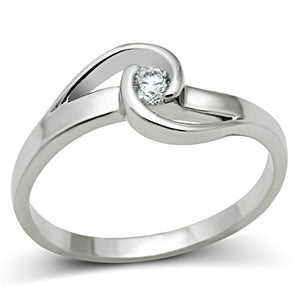 3W114 - Rhodium Brass Ring with AAA Grade CZ  in Clear