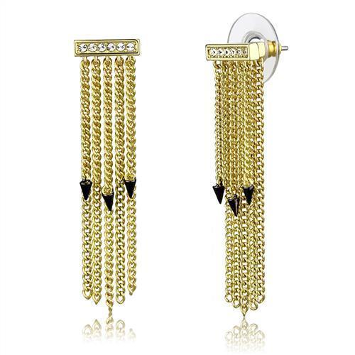 3W1205 - Gold+Ruthenium Brass Earrings with Top Grade Crystal  in Clear