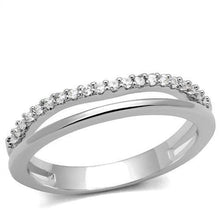 Load image into Gallery viewer, 3W1229 - Rhodium Brass Ring with AAA Grade CZ  in Clear
