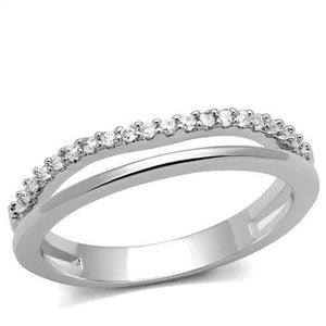 3W1229 - Rhodium Brass Ring with AAA Grade CZ  in Clear