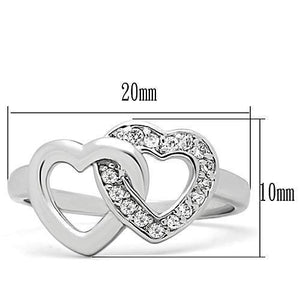 3W123 - Rhodium Brass Ring with AAA Grade CZ  in Clear