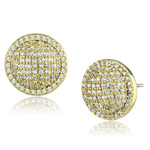 Load image into Gallery viewer, 3W1258 - Gold Brass Earrings with AAA Grade CZ  in Clear