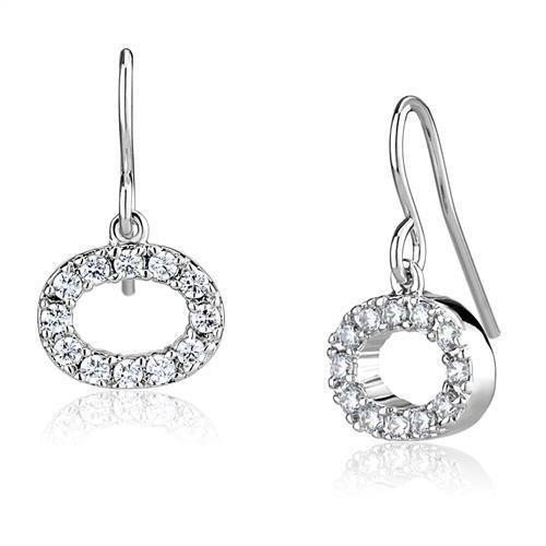 3W1278 - Rhodium Brass Earrings with AAA Grade CZ  in Clear