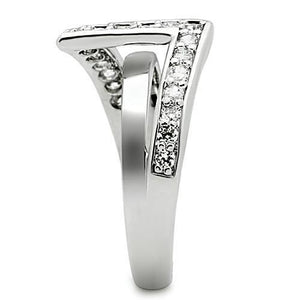 3W127 - Rhodium Brass Ring with AAA Grade CZ  in Clear