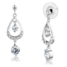 Load image into Gallery viewer, 3W1286 - Rhodium Brass Earrings with AAA Grade CZ  in Clear