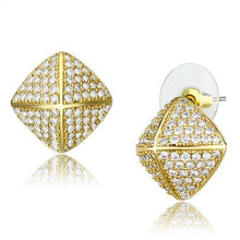 Load image into Gallery viewer, 3W1323 - Gold Brass Earrings with AAA Grade CZ  in Clear