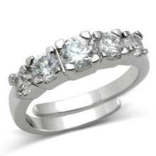 Load image into Gallery viewer, 3W134 - Rhodium Brass Ring with AAA Grade CZ  in Clear