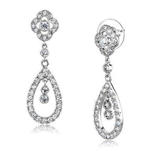 Load image into Gallery viewer, 3W1351 - Rhodium Brass Earrings with AAA Grade CZ  in Clear