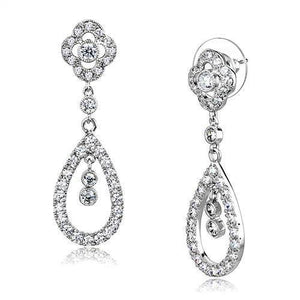 3W1351 - Rhodium Brass Earrings with AAA Grade CZ  in Clear