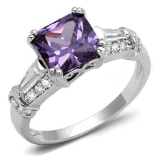 Load image into Gallery viewer, 3W1365 - Rhodium Brass Ring with AAA Grade CZ  in Amethyst