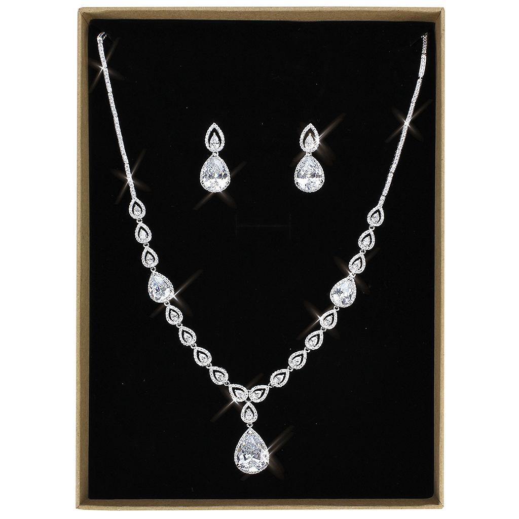 3W1427 - Rhodium Brass Jewelry Sets with AAA Grade CZ  in Clear
