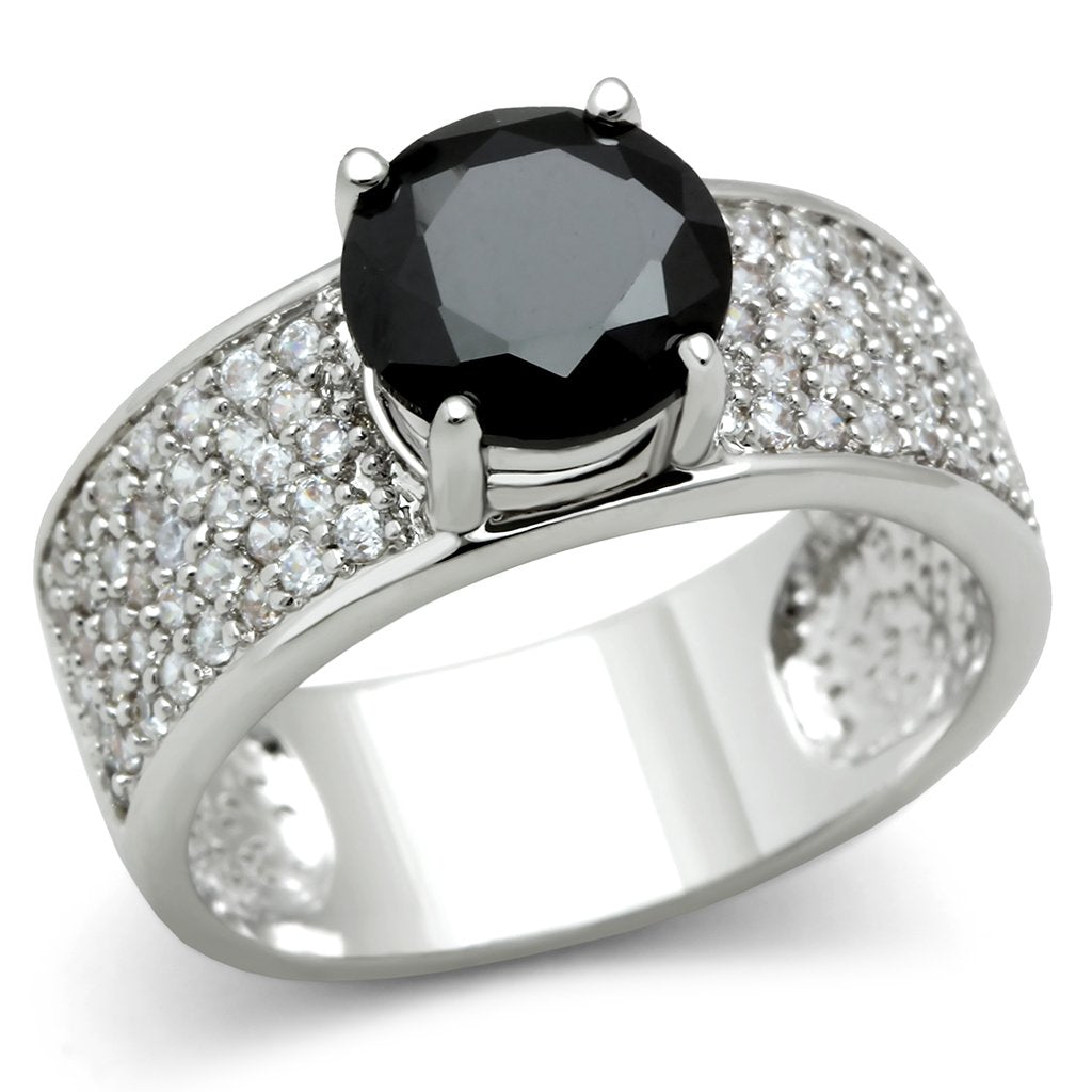 3W145 - Rhodium Brass Ring with AAA Grade CZ  in Jet
