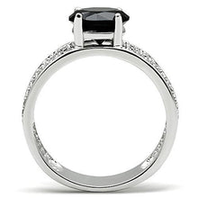 Load image into Gallery viewer, 3W145 - Rhodium Brass Ring with AAA Grade CZ  in Jet