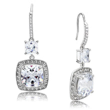 Load image into Gallery viewer, 3W1477 - Rhodium Brass Earrings with AAA Grade CZ  in Clear