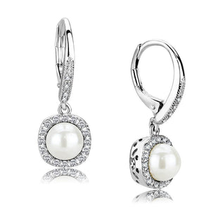3W1479 - Rhodium Brass Earrings with Synthetic Pearl in White