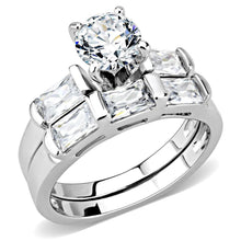 Load image into Gallery viewer, 3W1515 - Rhodium Brass Ring with AAA Grade CZ  in Clear