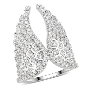 3W1543 - Rhodium Brass Ring with AAA Grade CZ  in Clear