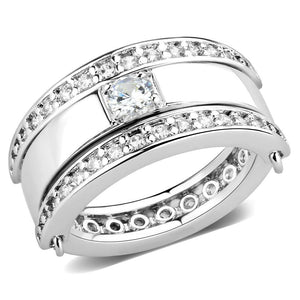 3W1549 - Rhodium Brass Ring with AAA Grade CZ  in Clear