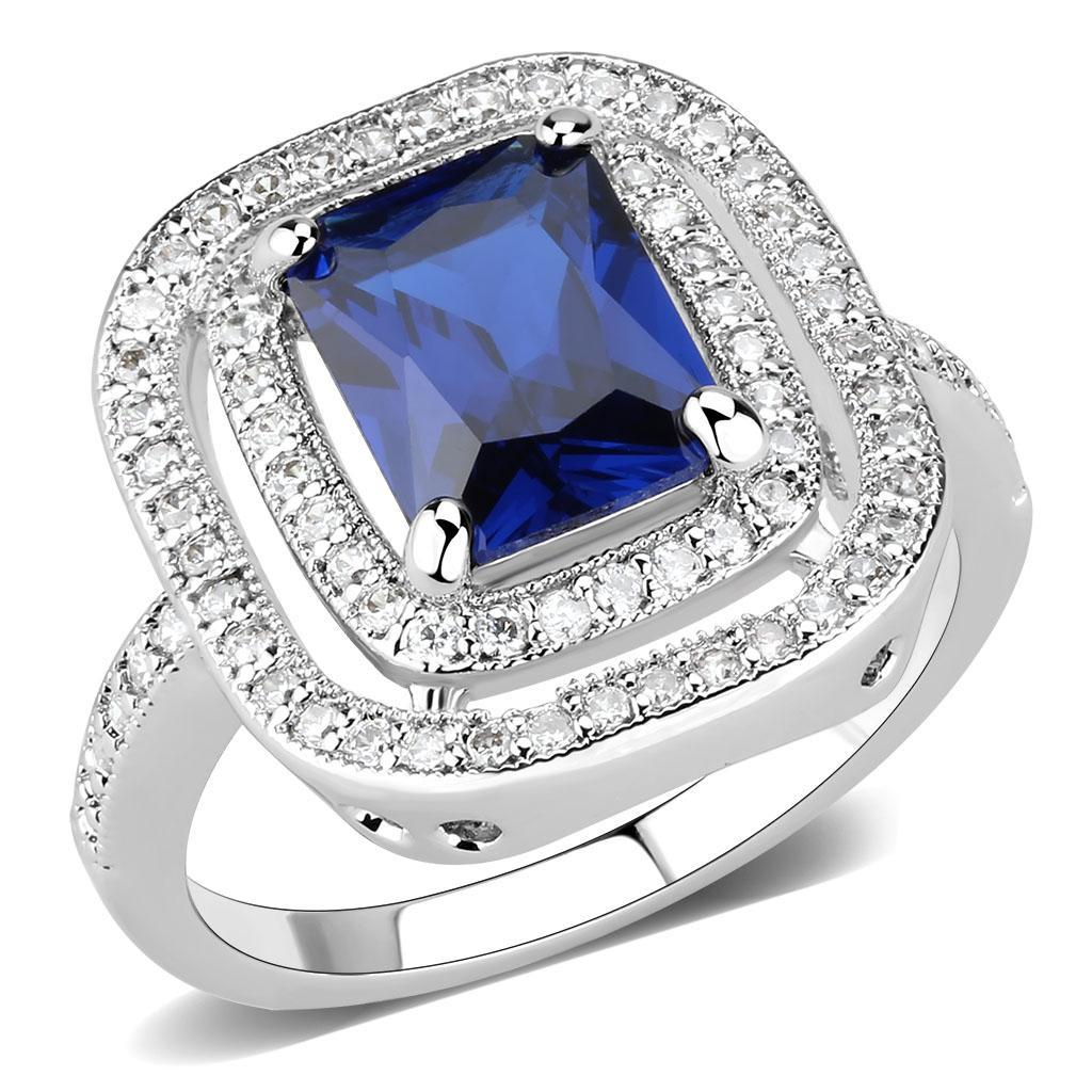 3W1565 - Rhodium Brass Ring with Synthetic Spinel in London Blue