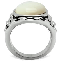 Load image into Gallery viewer, 3W186 - Rhodium Brass Ring with Precious Stone Conch in White