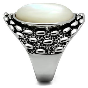 3W186 - Rhodium Brass Ring with Precious Stone Conch in White