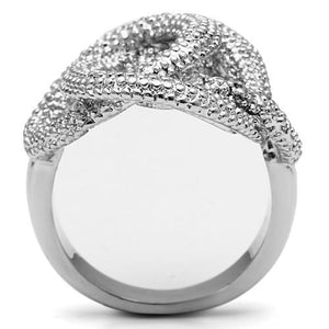 3W196 - Rhodium Brass Ring with AAA Grade CZ  in Clear