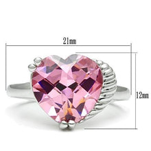 Load image into Gallery viewer, 3W206 - Rhodium Brass Ring with AAA Grade CZ  in Rose