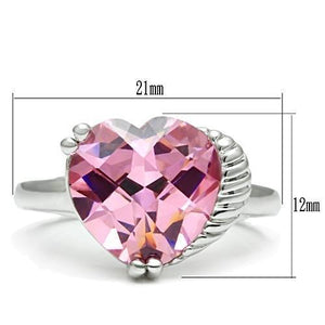 3W206 - Rhodium Brass Ring with AAA Grade CZ  in Rose