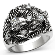 Load image into Gallery viewer, 3W211 - Rhodium Brass Ring with AAA Grade CZ  in Clear